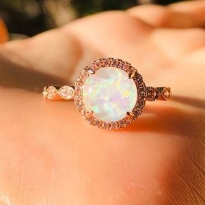 NEW ROSE GOLD ROUND OPAL DIAMOND HALO RING